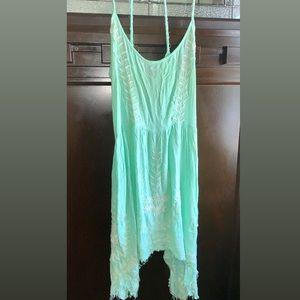 Free People sea foam green spaghetti strap dress M